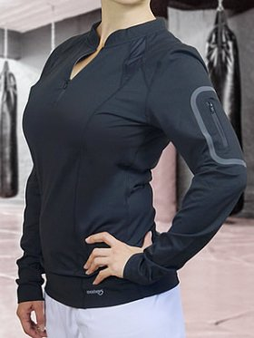 Ladies Zippered Long-Sleeved Gym Shirt