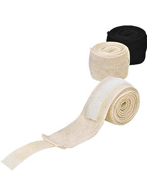 500cm Cotton Boxing Hand Wraps - Non-Elastic (Black)